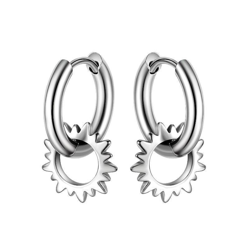 Hoop & Huggie Cyue European Fashion 316L Stainless Steel Earrings Round Ear For Women Men Jewelry ZYE011