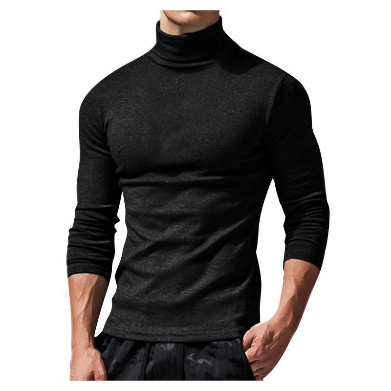 Erkek T-Shirt Yüksek Yaka Ince T Gömlek Rahat Uzun Kollu Sonbahar Bahar Moda Katı Renk Fit Tişört Adam Giysileri Tops