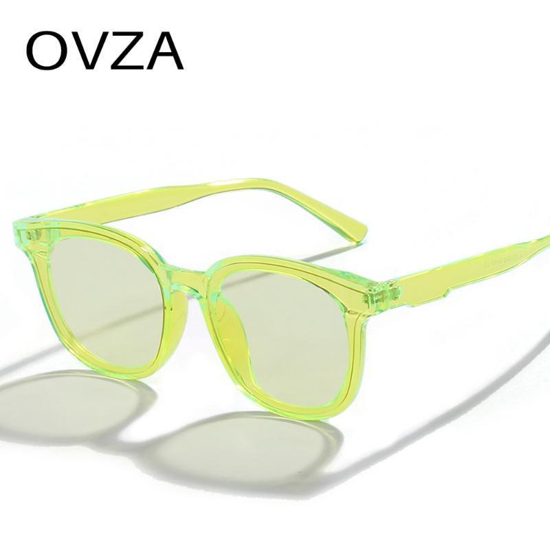 Ovza Candy Colors Sonnenbrillen für Frauen 2021 Mode Rechteckige Brille Männer Gradient Rosa Linse S4016