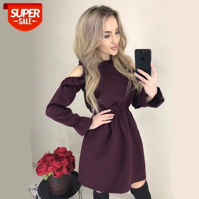 Mujeres sólidos volantes mini vestido sexy fuera del hombro manga larga vestido de cintura elástica diseñador otoño casual elegante una línea vestidos de fiesta # DQ8U