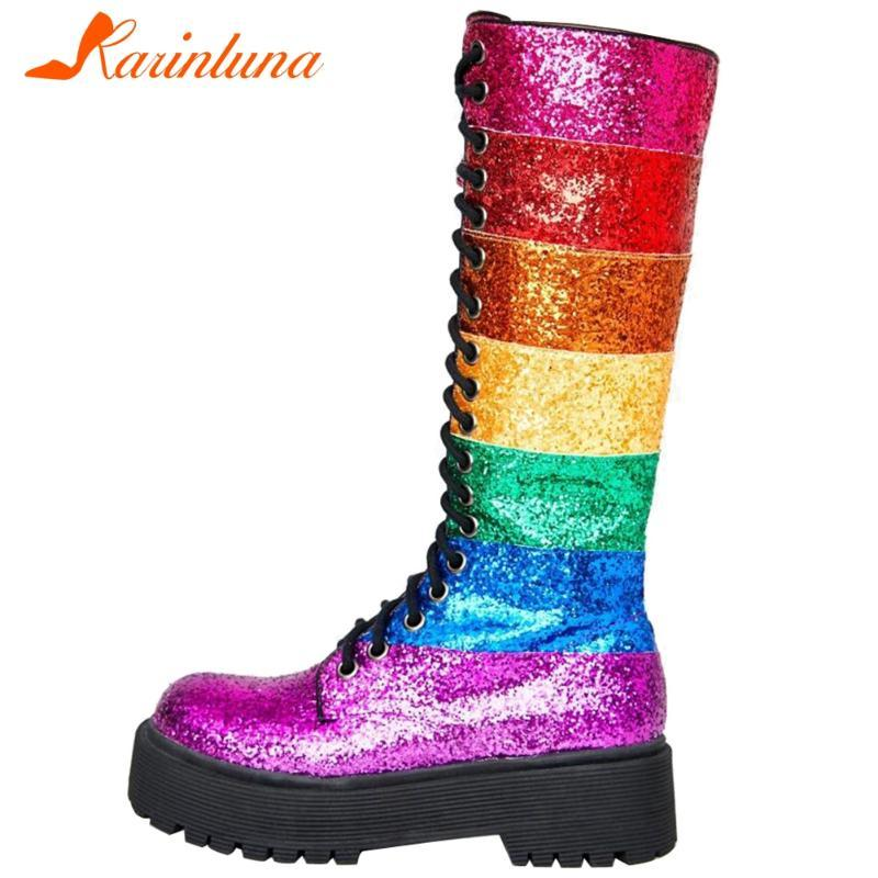 Boots High Quality Brand Designer Arrivals Rainbow Color Mixed Round Toe Lace-up Square Thick Heels Paltform Mid-calf