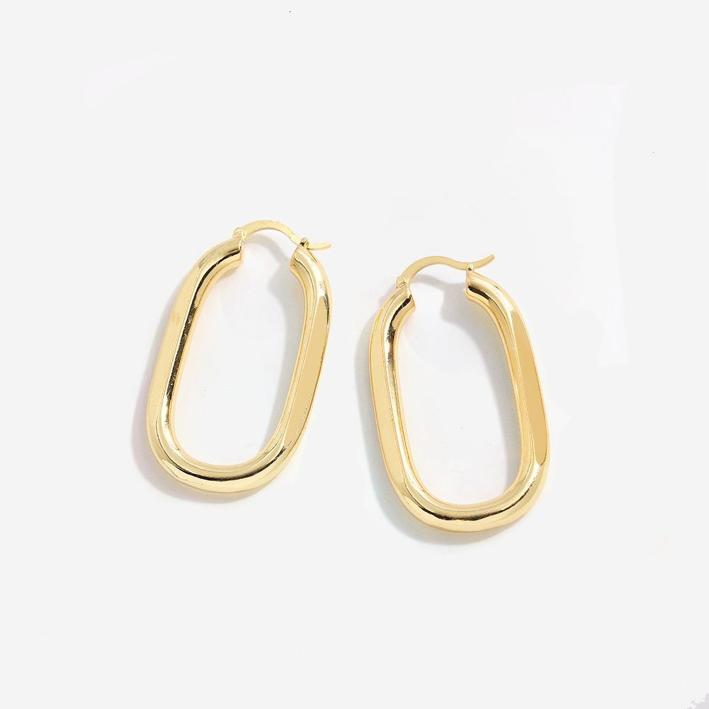 Французский дизайнер золото овальные металлические серьги