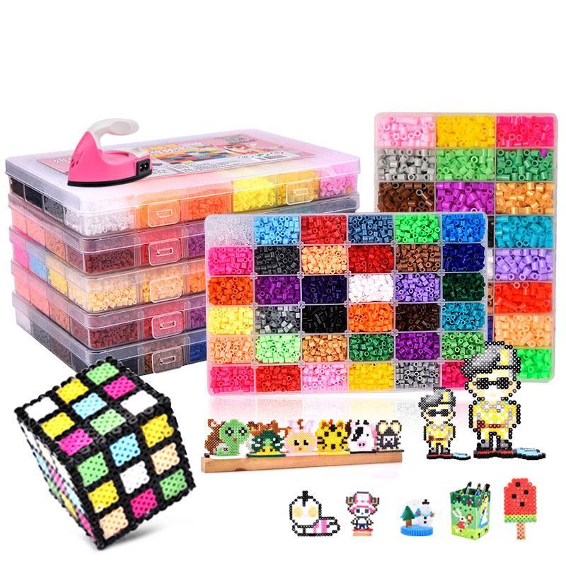 24/72 COLORES CAJA CONJUNTO HAMA BEADS TOY TOYE 2.6 / 5MM Perler Niños educativos 3D Rompecabezas 3D Juguetes Fusibles Beads Pegboard Sheets Papel de planchado L0226
