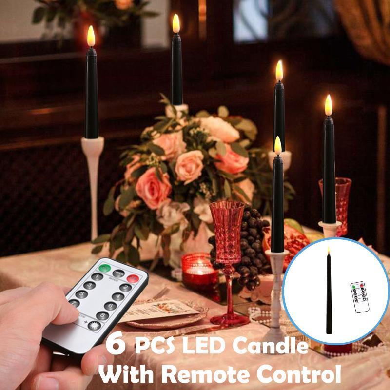 6 unids LED vela con control remoto Boda / Día de San Valentín Decoración de la mesa LED Vela Luz Cena Decoración