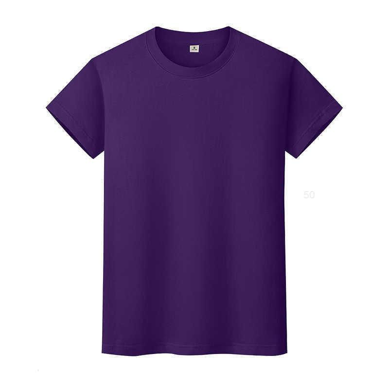 T-shirt de couleur solide ronde en coton à manches courtes à manches courtes à manches courtes et à mi-manche à mi-manchesbnla