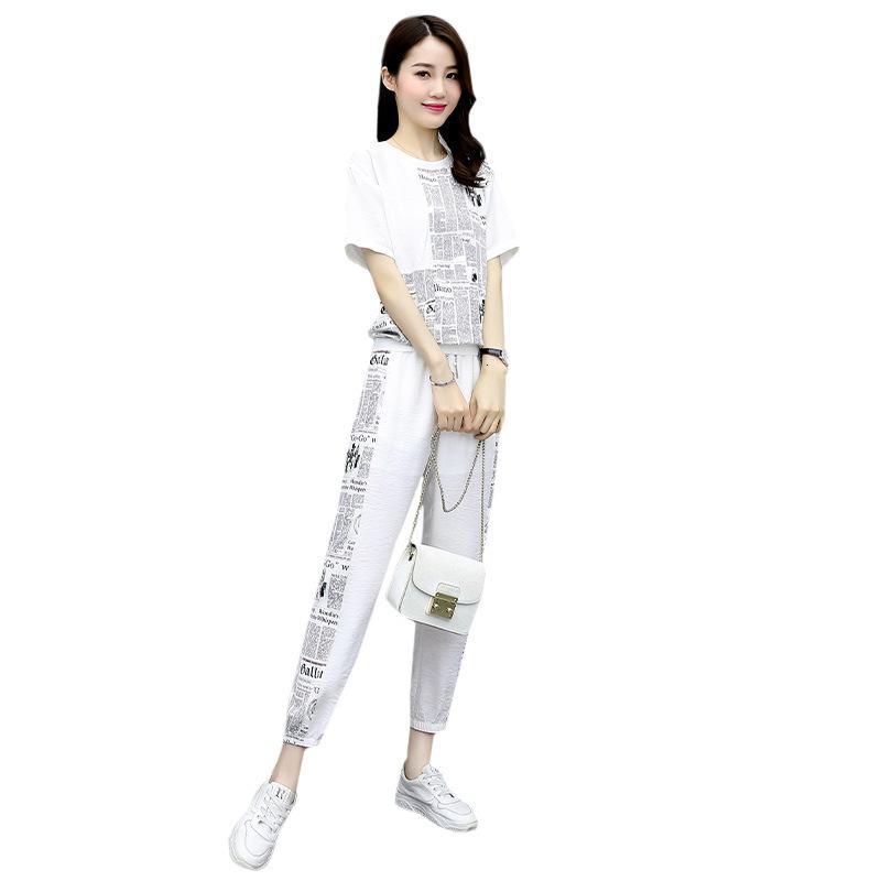 Kadın takım elbise, stil yaz, şık disket, dokuz nokta pantolon, iki parçalı kıyafetler giydir. Dh2n
