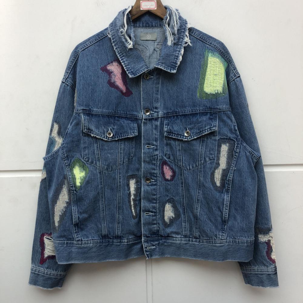 Вышивка Трэвис Скотт Тяжелая ткань с капюшоном Джинсовая куртка Женщины Высокое качество Тонкий Ковбой Cowboy Blue Jean C0304