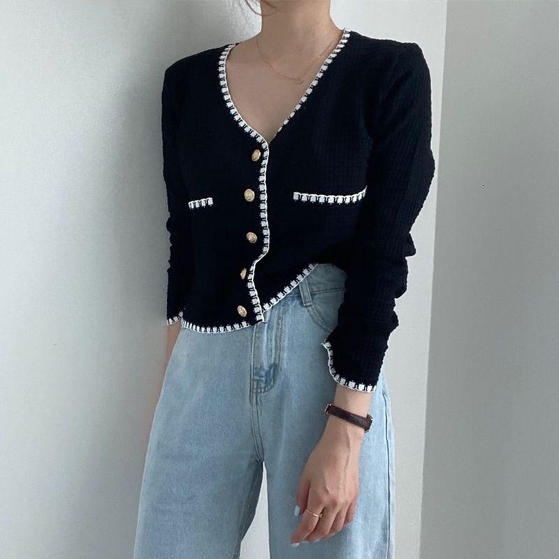 2021 Новая осень зима женские свитера V-образным вырезом повседневные кнопки кардиганы модный карманный корейский трикотаж SWC9662 PPXV