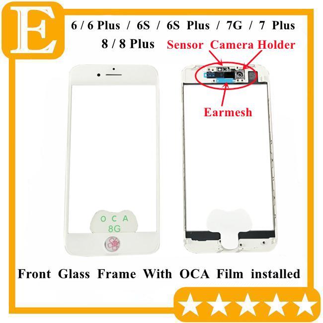 Kühlpresse 5 in 1 Frontscheibenglasplatte mit Rahmen OCA-Kleber + Ohr-Lautsprecher-Mesh-Kamera-Sensorhalter für iPhone 8 7 8PLUS 6 6S plus Reparatur