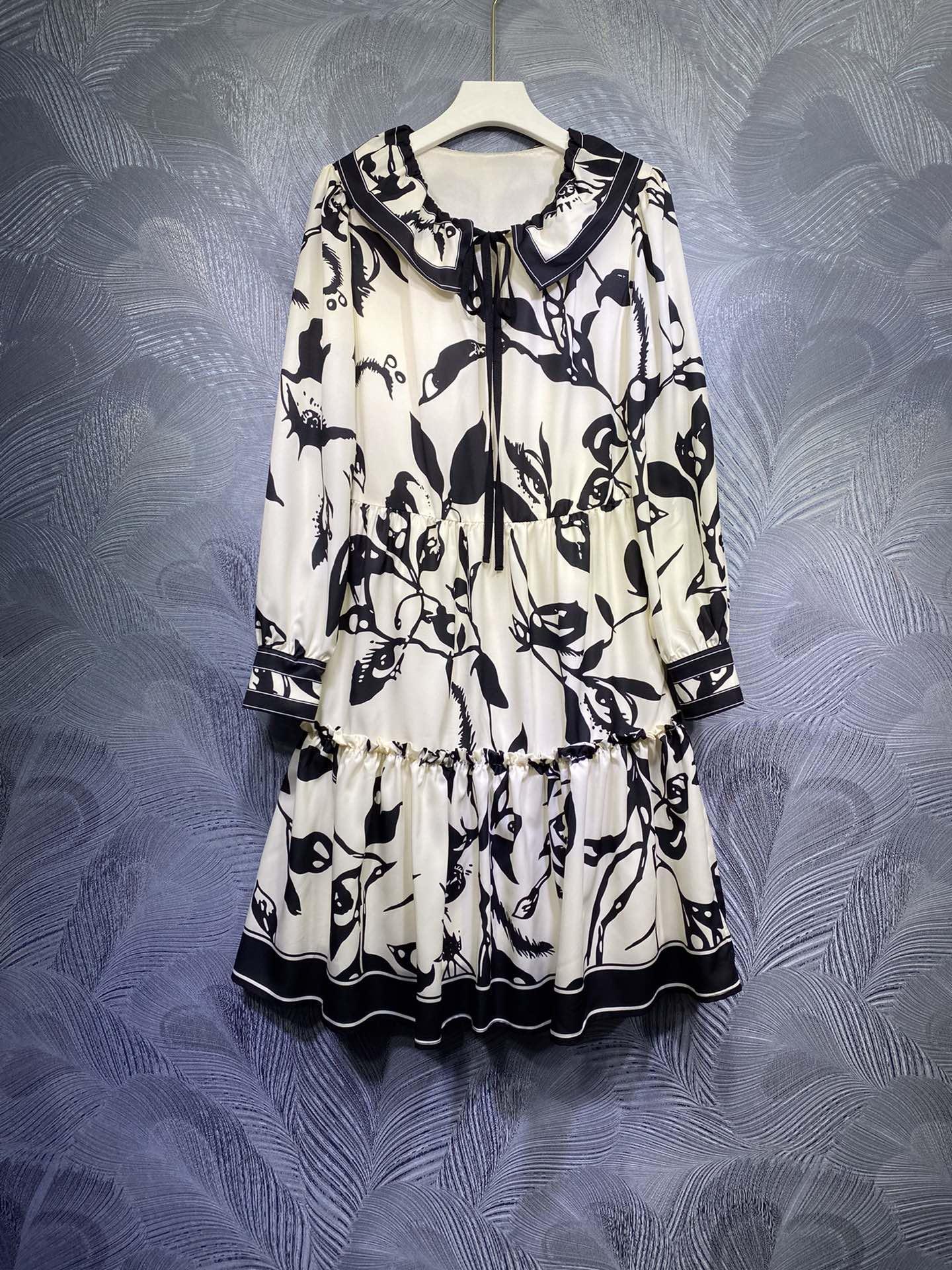 Австралийская мода новый женский весенний и летний отворотный лук с длинным рукавом ретро печать юбка платье юбка