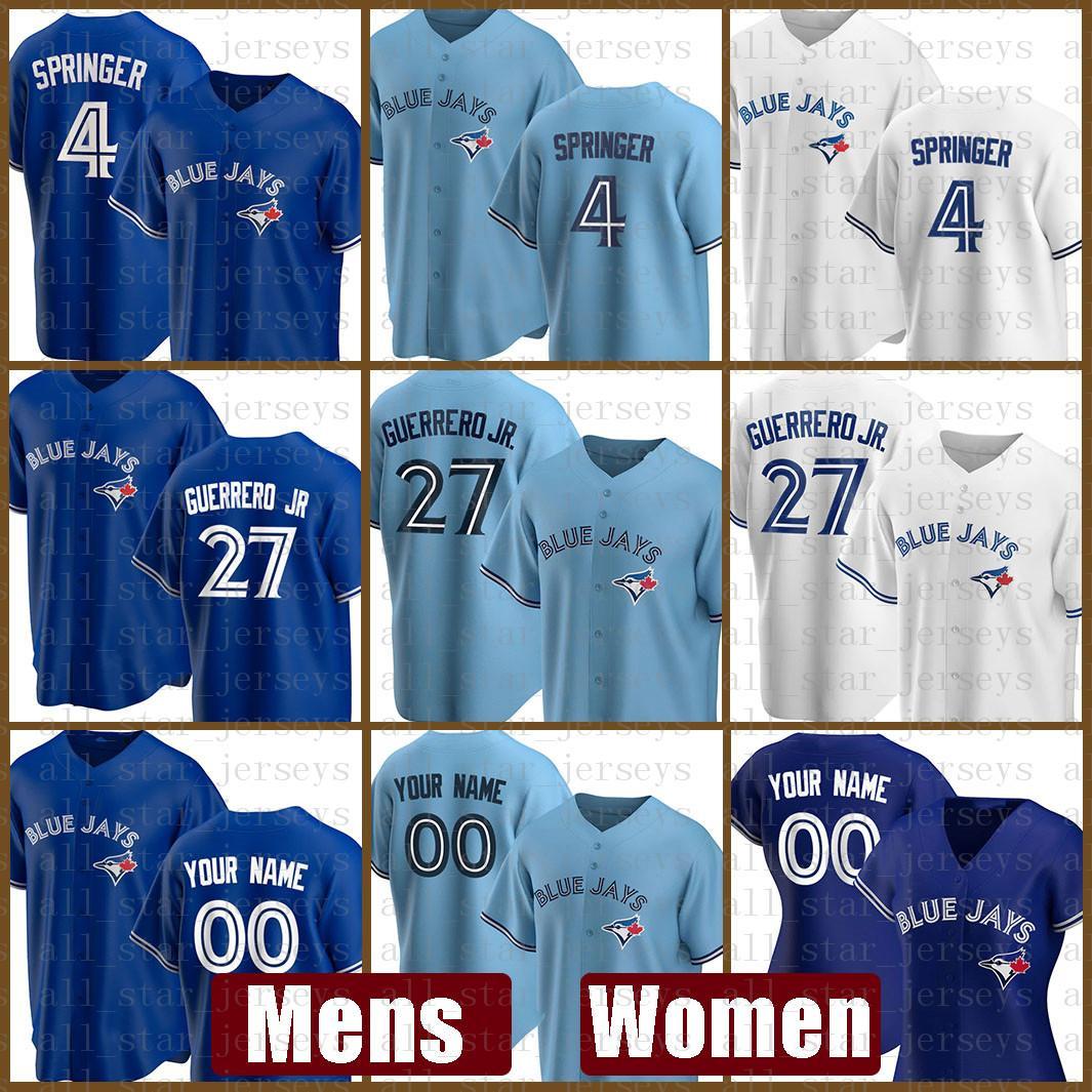 2021 토론토 새로운 블루 제이스 야구 유니폼 맞춤형 27 블라디미르 게레로 주니어 주니어 Mens 4 조지 스프링 여성 11 조지 벨 6 마커스 스트롬 죠