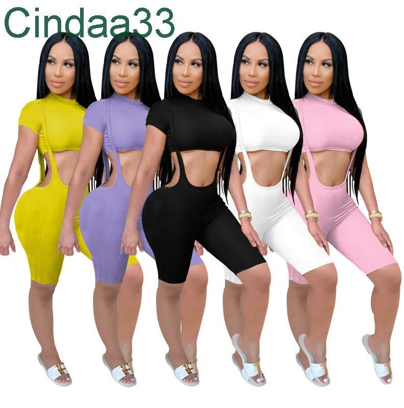 Kadınlar Casual İki Parçalı Set Tasarımcı Bel-Maruz Kısa Kollu Kısa Askı Pantolon Spor Takım Katı Renk Yüksek Sıkı Kıyafetler
