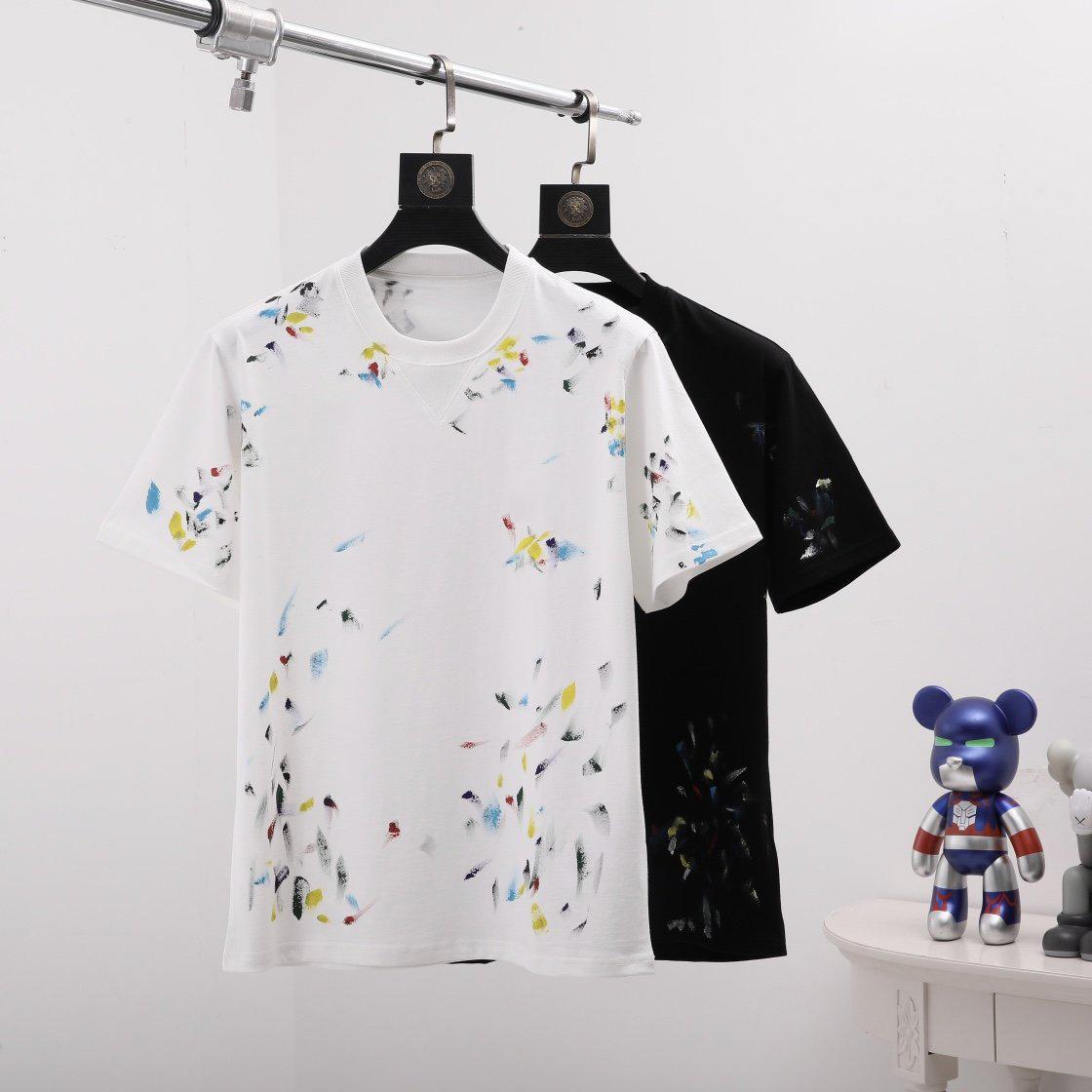 2021 Fransız Paris Yağı Renk Fırça Baskı Bahar Ve Yaz Yeni T-shirt Erkekler Ve Kadın Stilleri Beyaz Yabani Rahat Pamuk Kısa Kollu Tişört