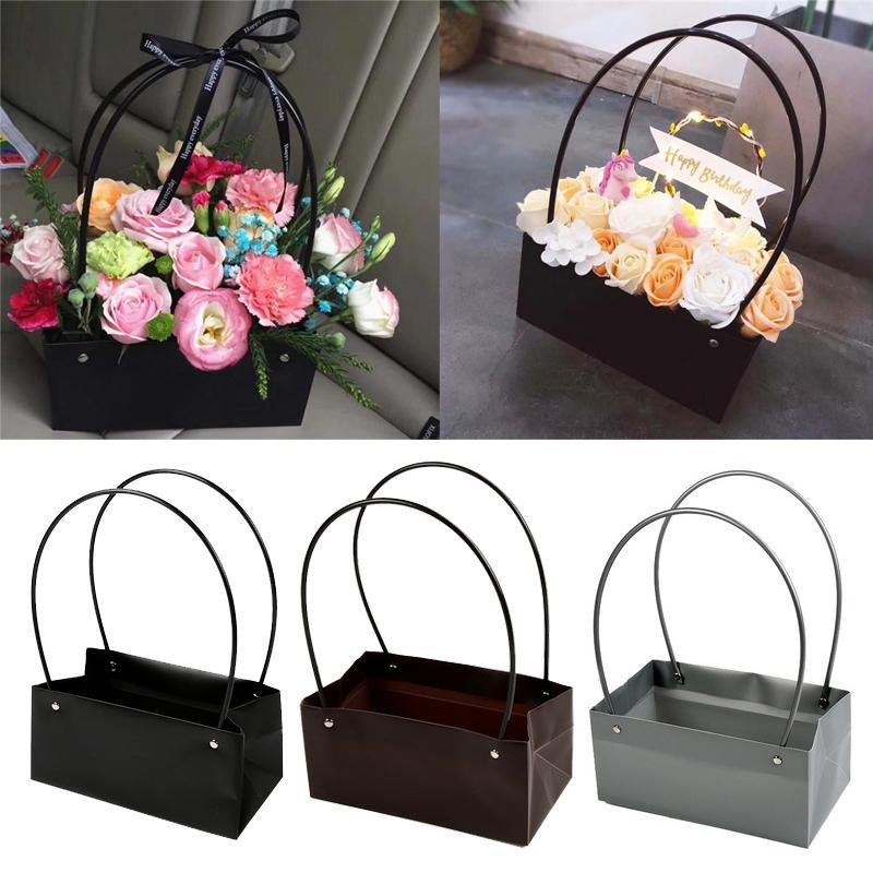 Flores de PVC Carry Saco Retangular Kraft Paper Sacos Caixa de flor com lidar com À Prova D 'Água Bouquet Florista Rose Party Decoração Caixas