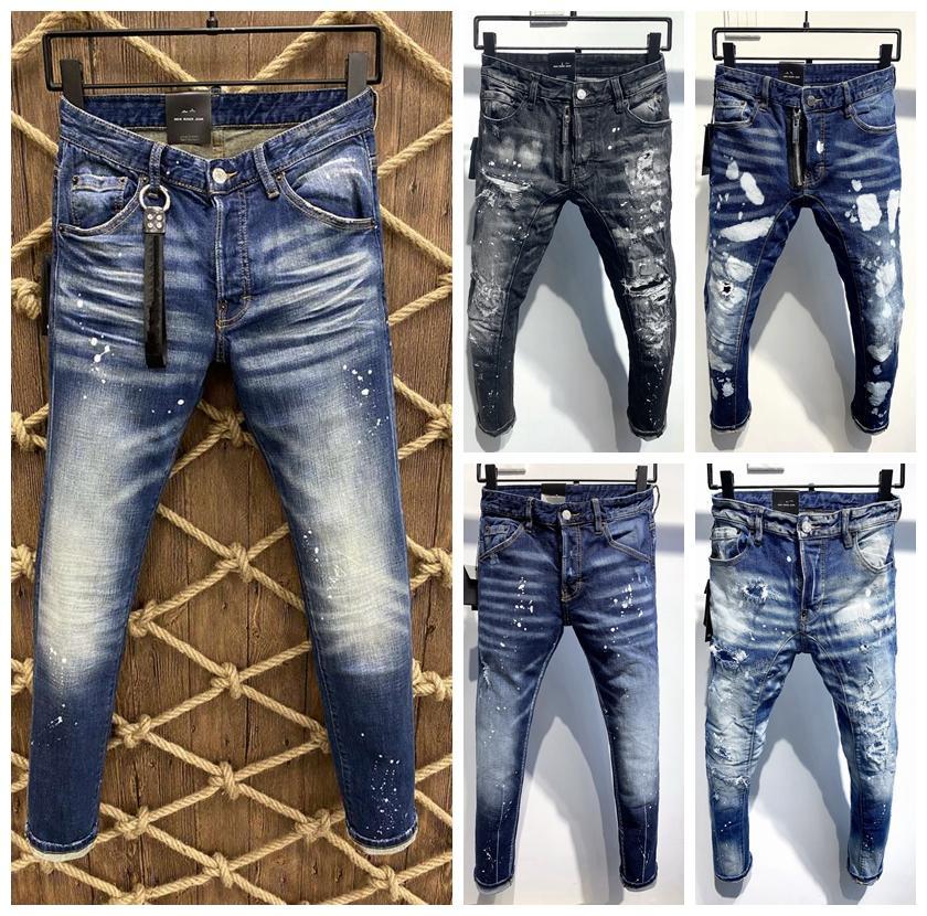 Hommes Jeans Nouvelle mode styliste noir Bleu Jeans Skinny déchiré Détruit Stretch Slim Fit Fit Hop Hop Pantalon avec des trous pour hommes 44-54