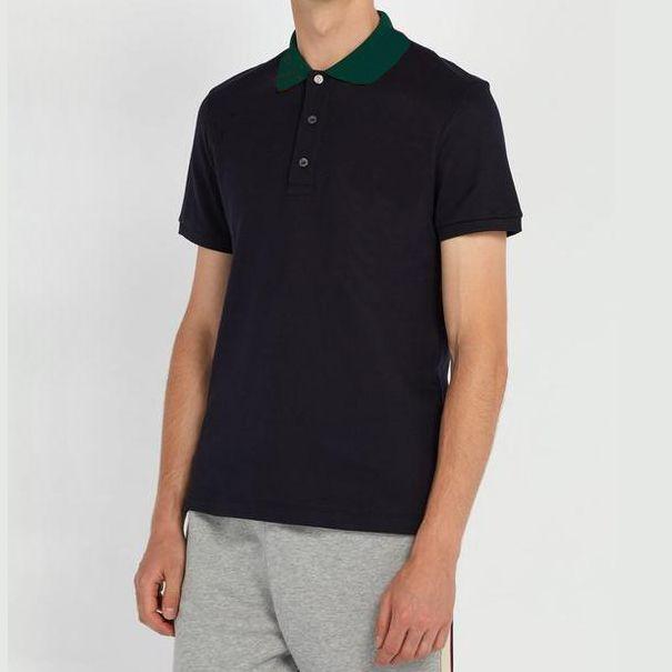 Camisa de polo casual de los hombres camisas de negocios hombres transpirable verano venta caliente tops para hombre tees de moda letra de moda impresión a rayas Polos de los hombres