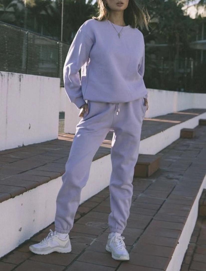 Juego de 2 piezas Streetwear O Cuello de manga larga Sudadera con cordón Cintura Cintura Pantalones deportivos Pantalones deportivos Pantalones Mujeres Joggers Pantalones