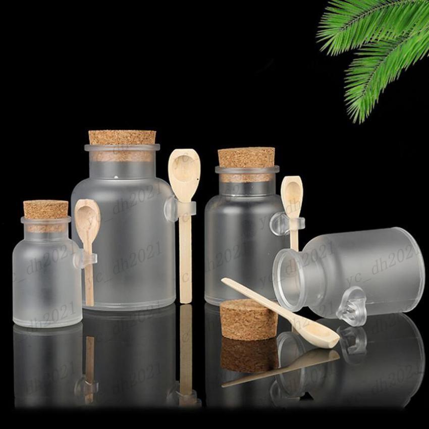 زجاج زجاجات مستحضرات التجميل البلاستيكية متجمد مع غطاء الفلين والملعقة حمام الملح قناع مسحوق كريم زجاج زجاجات ماكياج تخزين الجرار