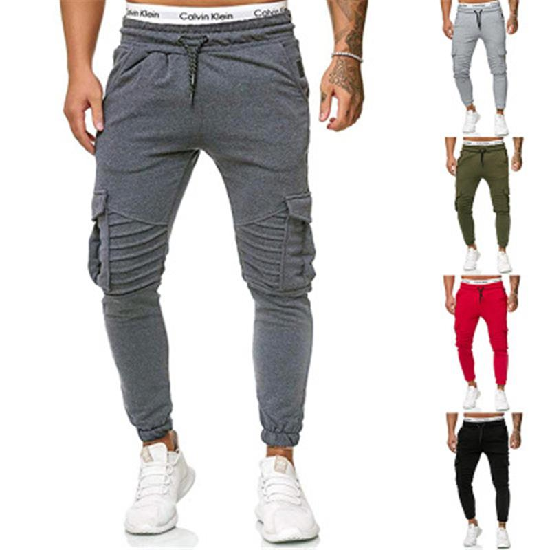 Mens Solid Colors Sports Pants Fashion Trend Fitness Low Waist Skinny Sweatpants Spring Male New Pocket Drawstring Casual Slim Trousers
