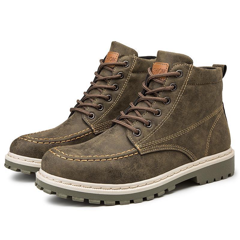 İlkbahar Sonbahar Düşük Kesim İngiliz Erkek Botları Yüksekliği Artan Anti Koku Ayakkabı Motosiklet Çizmeler Çalışma Ayakkabıları Erkekler Rahat Martin Çizmeler