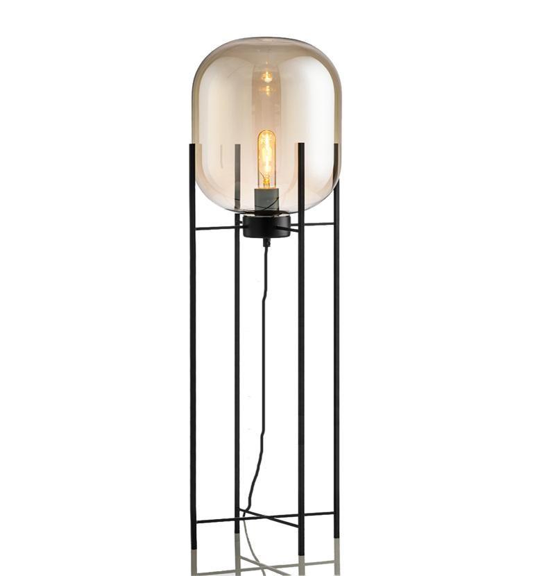 Moderno vetro nordico e ferro E27 LED Lampada da terra Lampada da terra per soggiorno Camera per studio del comodino Progetto hotel