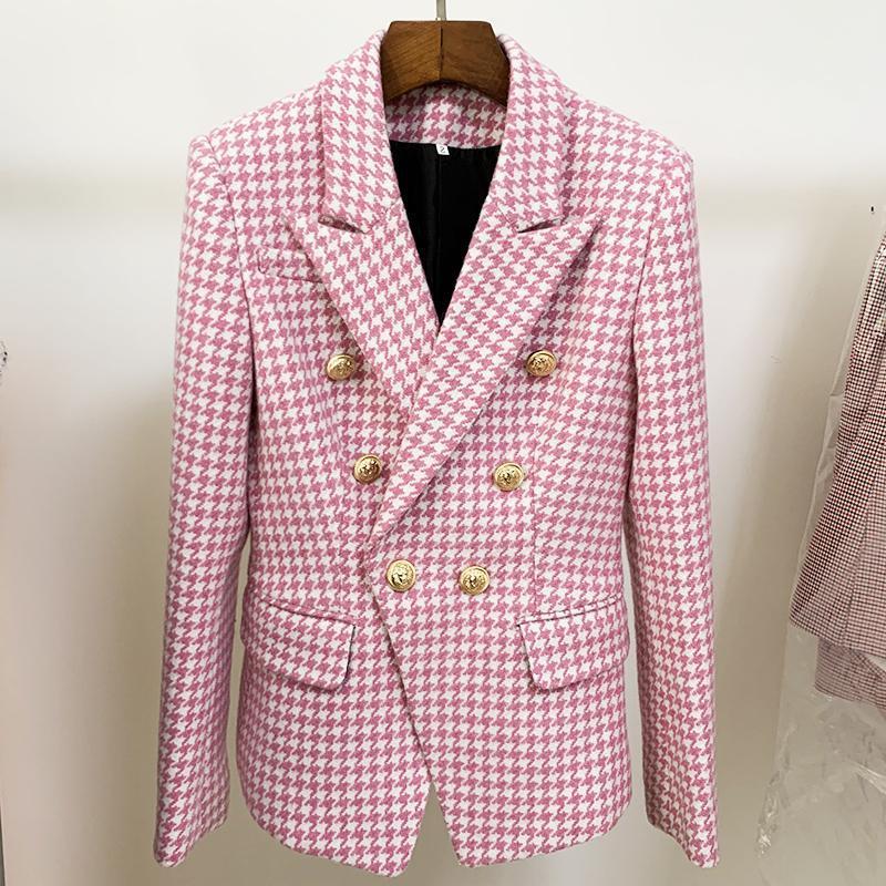 Женские костюмы Blazers EST Fashion 2021 Дизайнерская Куртка Двухборбожаты Кнопки Льва Шерстяные Tweed Houngstooth Blazer