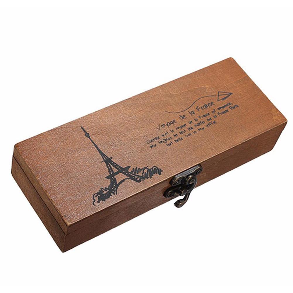 Caixa de armazenamento retrô Eiffel Torre Pen Lápis Titular Artigos de Papelaria Armazenamento Caixa De Madeira Pena De Armazenamento Org Jllmeq Yeah2010