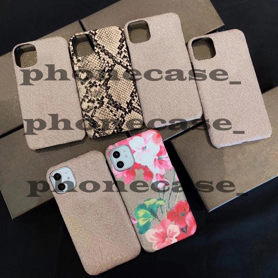 Coffrets de téléphone de mode pour iPhone 13 Pro Max 12 11 xs xs xsmax 7/8 Plus avec fleur de luxe en cuir Bee Tiger Fox Fox Coquille Original Box