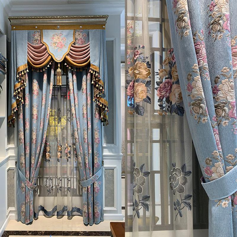 Curtain & Drapes 2021 Embroidered Curtains For Living Dining Room Bedroom Blue Exquisite Jacquard Luxury European