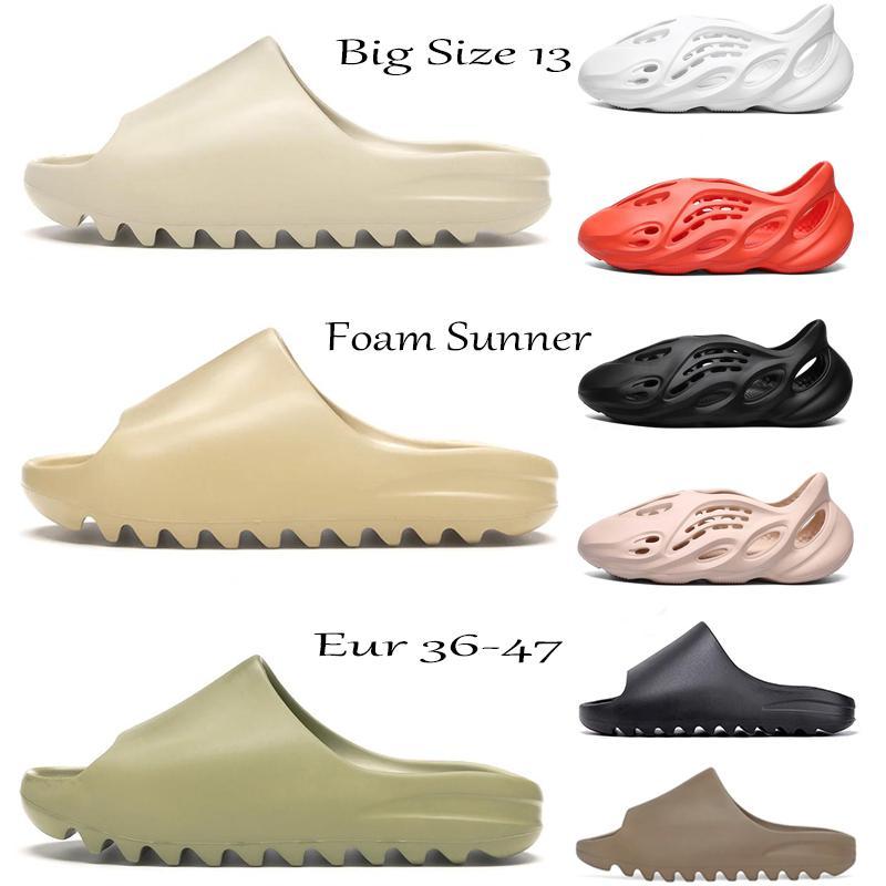 2021 Köpük Koşucu Kıç Sandal Üçlü Siyah Slayt Terlik Kadın Erkek Tainers Kemik 450 Tasarımcı Plaj Sandalet Slip-on Ayakkabı