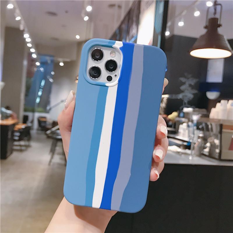Yüksek Kaliteli Renk Şerit Sıvı Silikon Telefon Kılıfı Için iphone 12 11 Pro Max XR XS XSMAX 7 8 Artı SE 2020 Moda Foral Yumuşak TPU Kapak