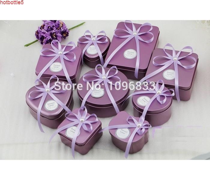 الأرجواني القصدير المعادن مربع هدية الحلوى التعبئة والتغليف العلب القلب جولة مربع الحاويات bonbonniere، 25pcs / lotgood الجرار