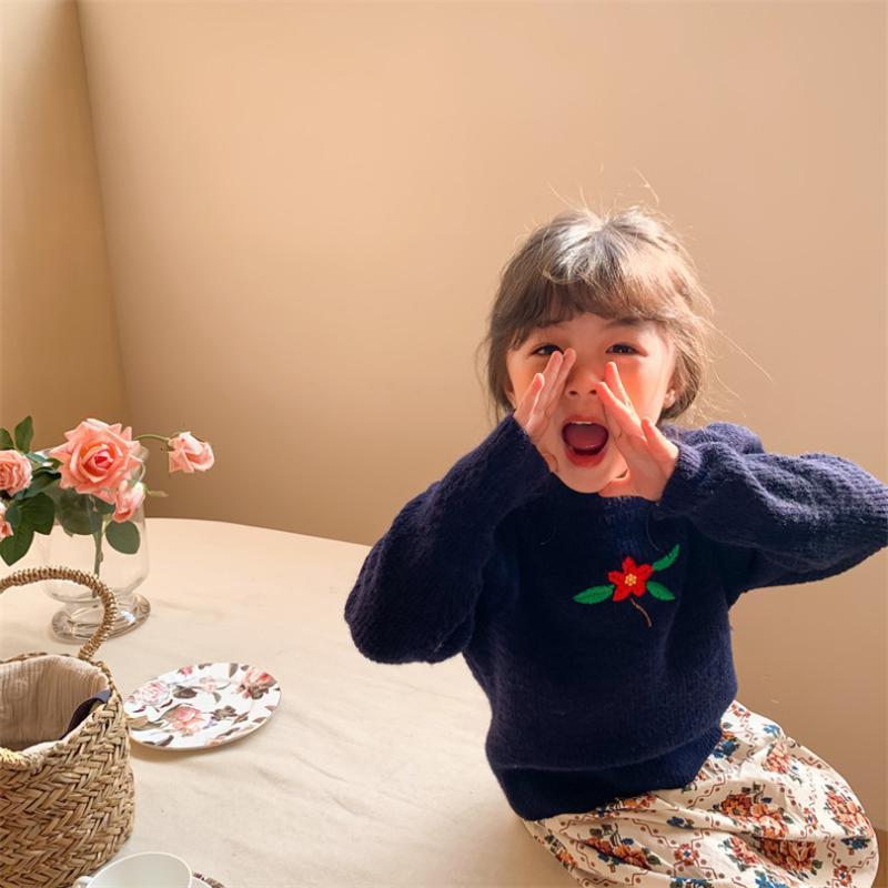 Frühlingsgestrickte Baby Mädchen Pullover Blume Kinder Pullover Pullover Für Mädchen Wolle Kinder Strickjacke Top Kleinkind Kleidung Hauch Ärge