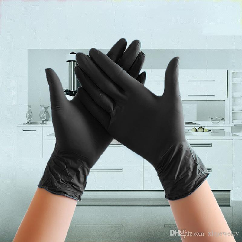 Disposable Gloves 100pcs Black Latex Nitrile Glove Working Grade Waterproof Allergy Free Work Safety S/m/l