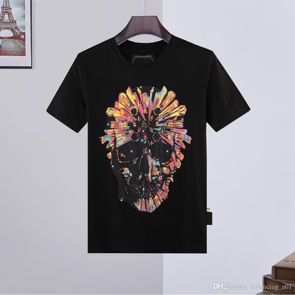 LYP Streetwear Brand Shirts Hip Casual T Top Men T-shirts Classical High Skull Designer Hop German Tshirt Rhinestone Quality Tees