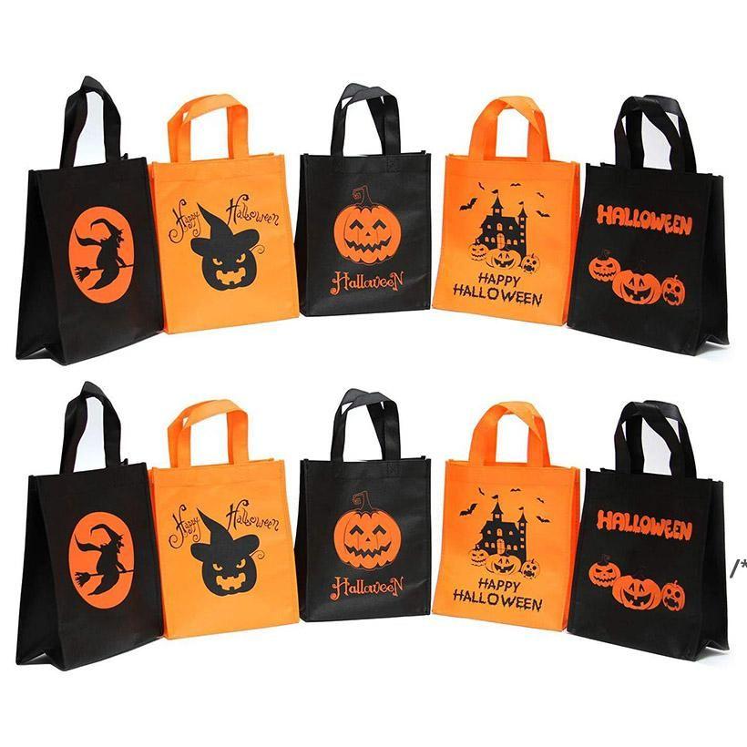 Happy Halloween Trick oder Treat Taschen Pack Große nicht gewebtes Süßigkeiten Taschen für Kinder Party Dekorationen Geschenk Taschen wiederverwendbares Lebensmittelgeschäft NHD10688