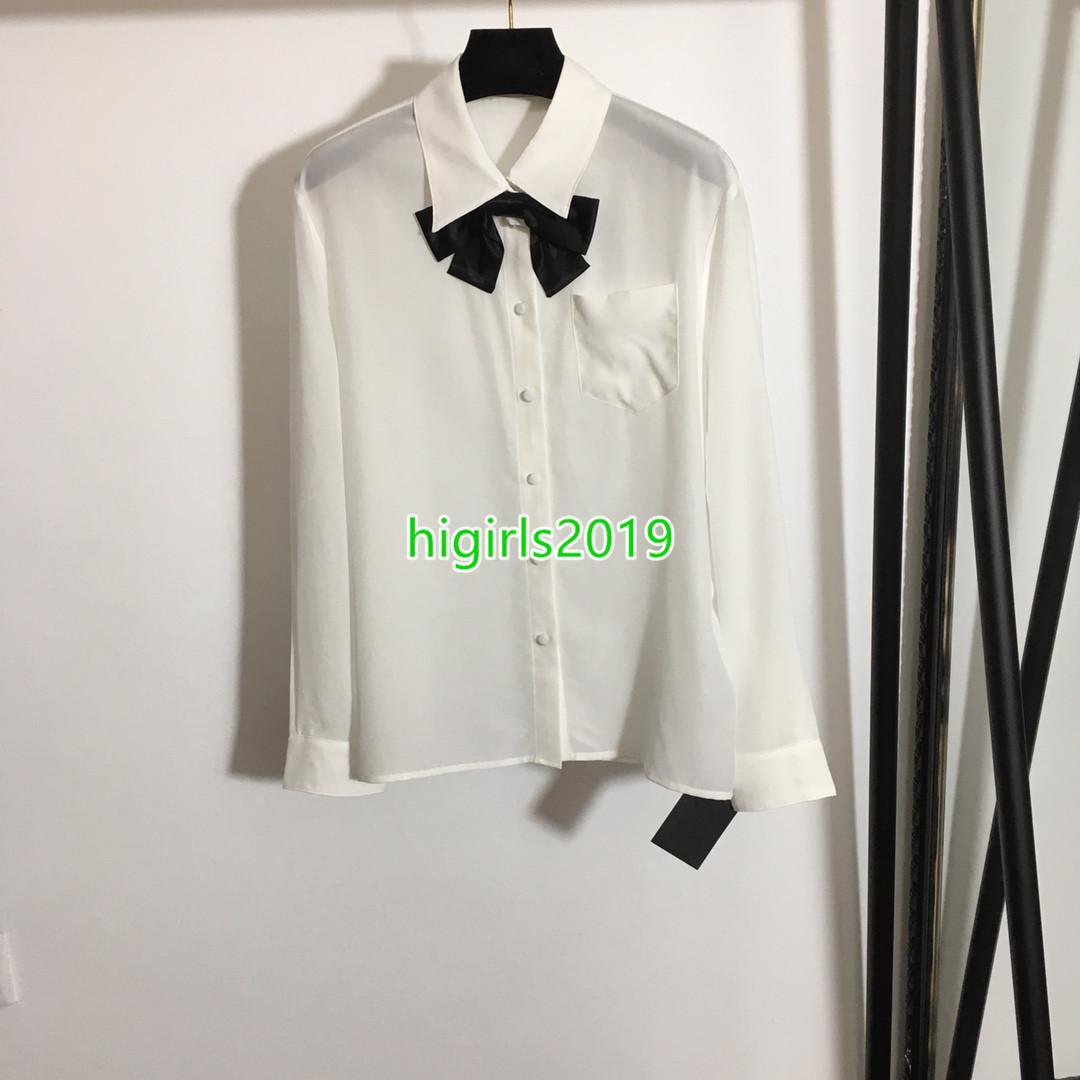 Mujeres de gama alta más nuevas chicas de manga larga 100% camisa de seda con cuello de lazo de lazo negro sólido blusa blusa tops camisas de solapa vestido de solapa cuello