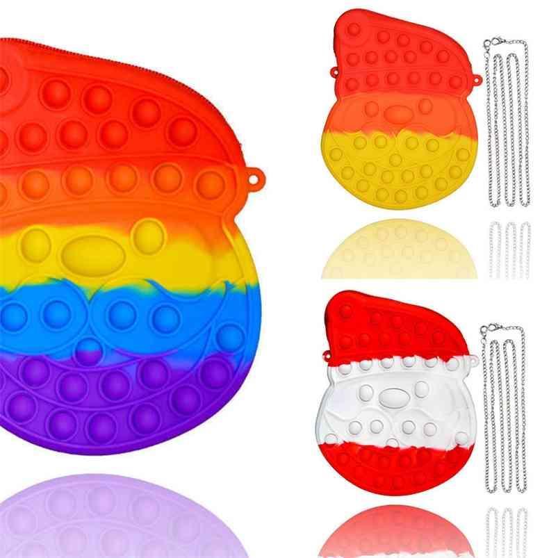 Christmas Sensory Fidget Brinquedos Xmas Santa Claus Chian Saco Presentes Presentes Pop Pop Popper Puzzle Crossbody Fanny Pack Desenhos animados Bolsas De Silicone Borracha Sacos G83NG07