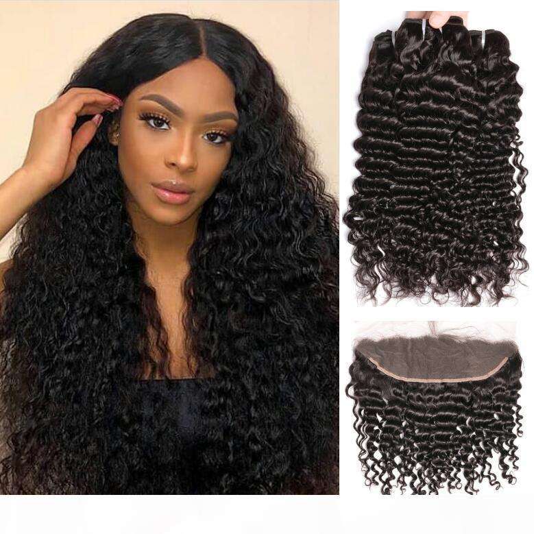 8a grade Brazilian Deep Curly Wave Human Hair Bundles With 13X4 Lace Frontal Virgin 10-30inch Deep Curly Human Hair Weaves