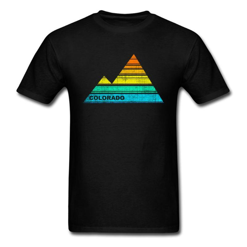T-shirt da uomo retrò US Colorado Tshirt uomo T-shirt Casual Top T-shirt 2021 Sconto Souvenir T-shirt 100% cotone abiti in cotone stampa piramide nera
