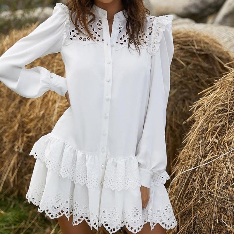 Kadınlar Katı Dantel Gömlek Elbise 2021 Bahar Zarif Bayanlar Standı Yaka Tek Göğüslü Basamaklı Ruffles Mini Elbiseler Oymak 210303