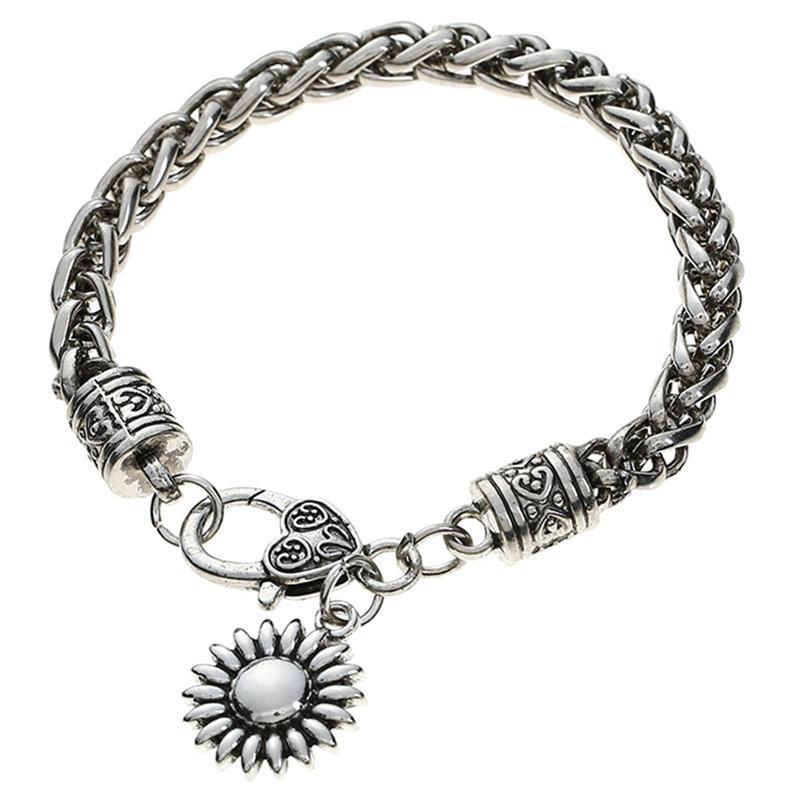 Link, Kette Retro Handmade Sunflower Armband Einstellbare Manschettenschmuck für Frauen