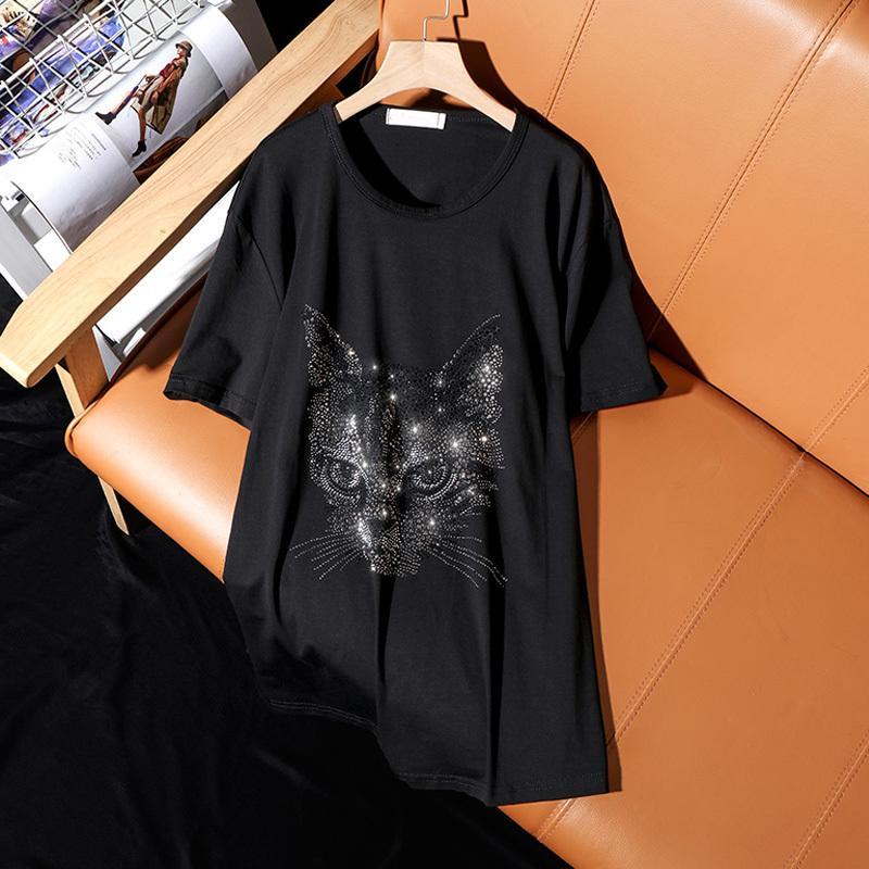 Лето 2021 Новая Мода Свободные Плюс Размер Футболка с коротким рукавом Для Женщин Повседневная Личность Cat Pattern Hot Diamonds Женские Топы 210312