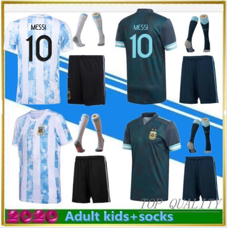 2021 الأرجنتين الصفحة الرئيسية لكرة القدم جيرسي الكبار الاطفال كيت + جوارب 20 21 aguero دي ماريا هيجين ميسي قمصان كرة القدم