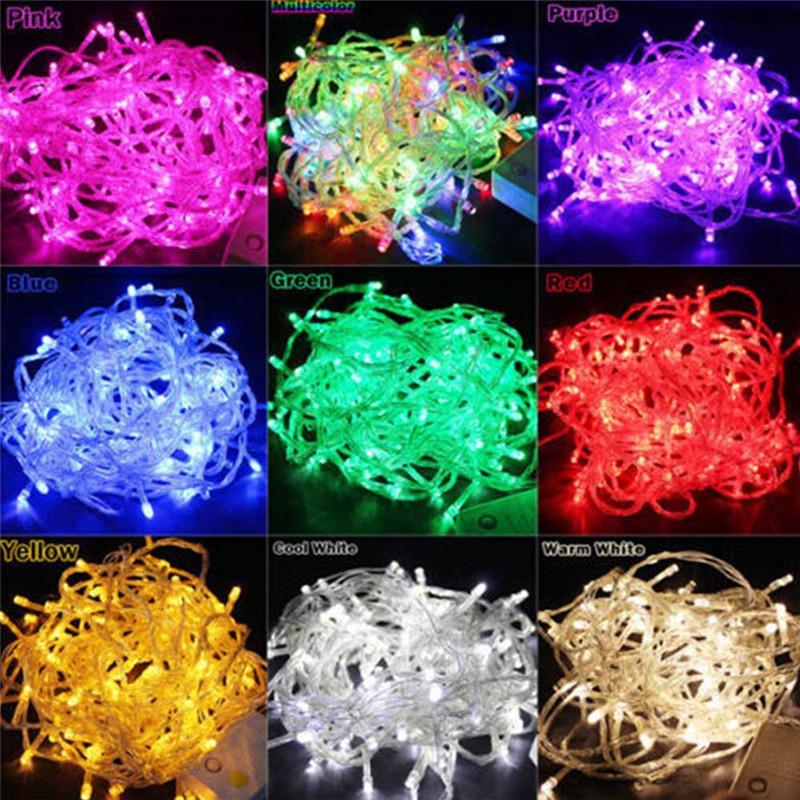 10m 100leds LED Lámpara de cadena AC220V AC110V 9 COLORES FESTONOON LÁMPARAS A prueba de agua Garnuna exterior Partido Decoración de Navidad Luz de decoración