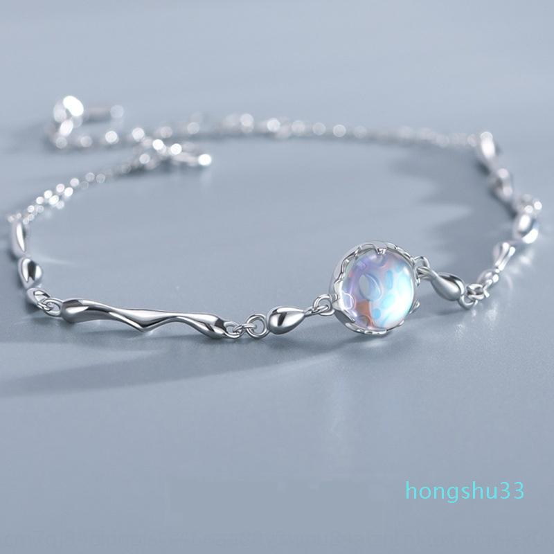 Venta al por mayor-Star Ocean Pure Silver INS Pulsera Femenina Universo Galaxy Minority Design Blue Dream Bracelet Nationality Etnic Group Island