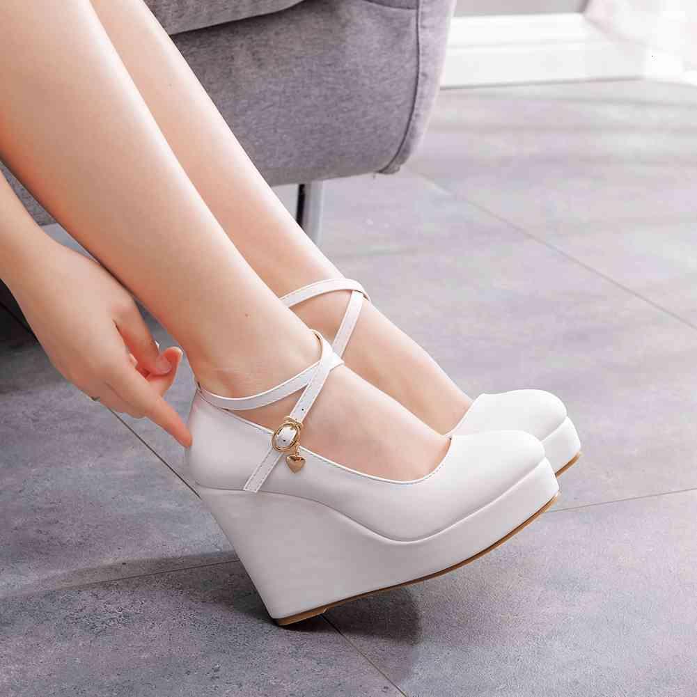Dress Shoes Salto alto feminino cristal queen, sapato plataforma branca com ponta redonda e tiras de tornozelo em tamanhos grandes XYGH