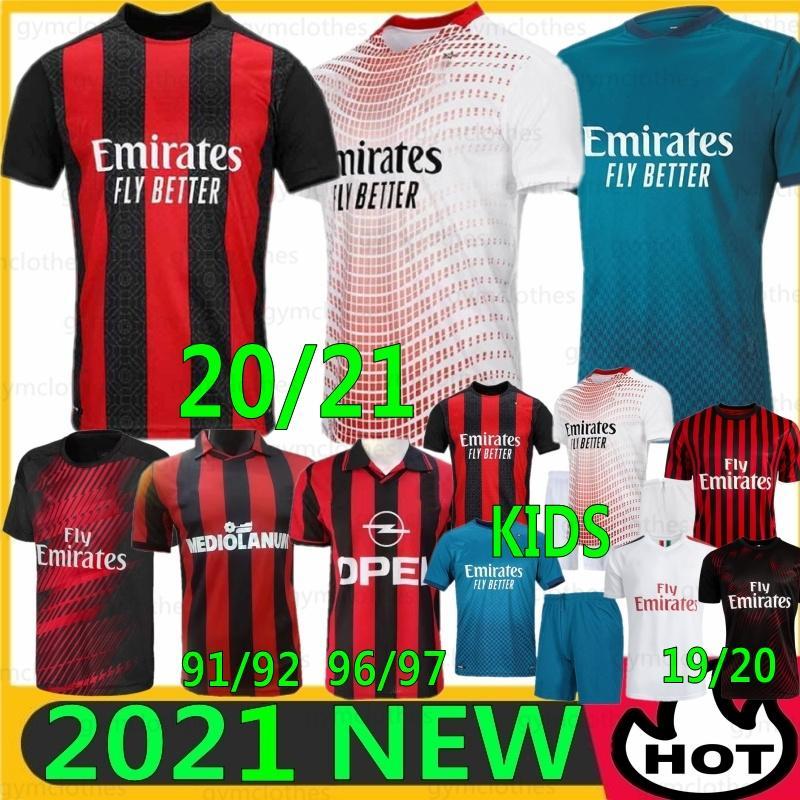 Tailandesa AC 20/21 Milão Ibrahimovic New Soccer Jersey Piatek Camisa de futebol Paqueta Suso Higuain Calhanoglu Caldara 19/20 Homens Kit Kids Uniformes