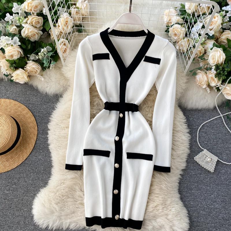 Nuevo diseño moda mujer sexy elegante soltero pecho manga larga manga lápiz punto lápiz vestido color bloque vestido corto