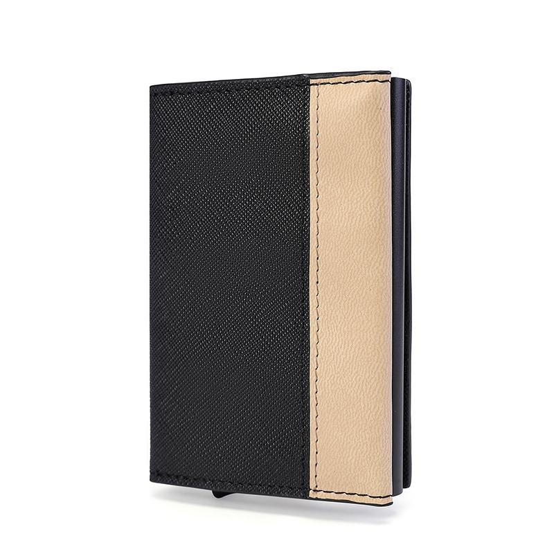 Porta carte Yambuto Unisex Patchwork Bank Credit PU in pelle magnetica metallo scatola di metallo borsa antifurto Pennello multifunzionale